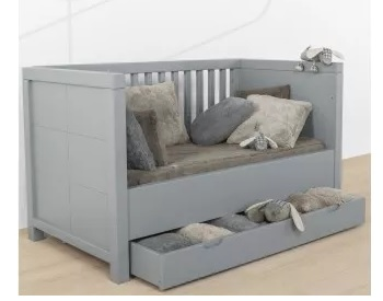 Lit évolutif à barreaux, avec tiroir de rangement (modèle Quarré de la marque Quax, coloris gris)